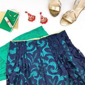 Eli Tahari navy blue knitted skirt neon trim